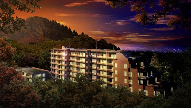 建築CGパースサンプル温泉リゾート夕景